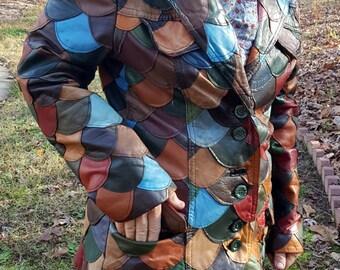 Vintage Patchwork Colorful Leather Jacket Coat