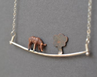 Deer in Forest Necklace- small diorama scene necklace