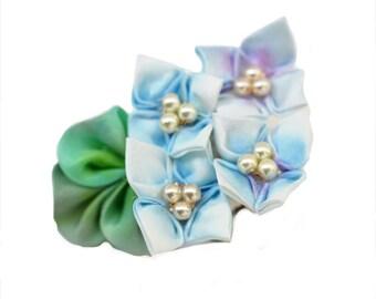 Light Blue Hydrangea Hair Clip. June Tsumami Kanzashi. Ajisai. Custom Wedding Party Design.