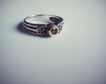 Silver Marcasite and Citrine Ring