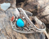 ON SALE- Turquoise Cuff, Sterling Silver-Vintage Bracelet-Native American- Cuff Bracelet--Stamped, Feather, Boho