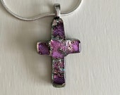 Golden Pink Dichroic Cross Pendant, Golden Pink Dichroic Glass Cross, Fused Glass Jewelry, Christian, Dichroic Cross, Silver Necklace