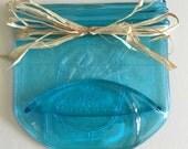 Blue Vintage Ball Mason Jar, Blue Fused Glass Mason Jar, Blue Spoon Rest, Blue, Soap Dish, Mason Jar, Ready to Ship - 57