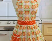 Retro Apron Bright Orange Flowers on White CHLOE