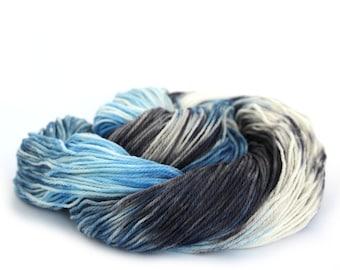 4ply Falkland Merino wool, superwash fingering sock yarn, UK spun knitting yarn, variegated blue grey crochet uk Perran Yarn Cloudscape