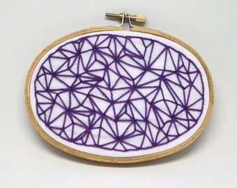 """Purple Facets 3x5"""" Oval Embroidery Hoop Art"""