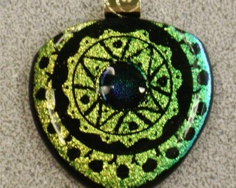 Dichroic Glass Pendant Hand Etched