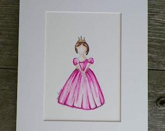 Girl Princess Pink Dress Gold Crown Watercolor Childrens Fashion Kids Art Original Painting Illustration California Artist Debra Alouise