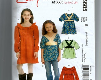 McCall's Girls' Dresses and Top Pattern 5685