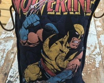 Marvel-Wolverine-Comic- Throw Pillow--Upcycled Eco Friendly-Quilted-