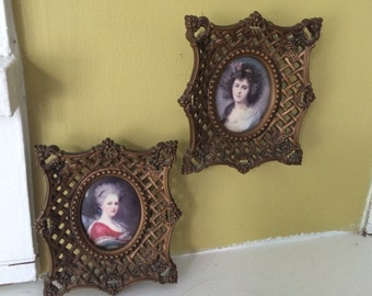 A Cameo Creation / Two Small Frames / Plastic Resin / Ornate / Italianate / Portraits