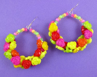 Colourful Rose Button Beaded Hoop Earrings - circle earrings with cute plastic flowers - kitsch kawaii Harajuku Decora summer jewelry