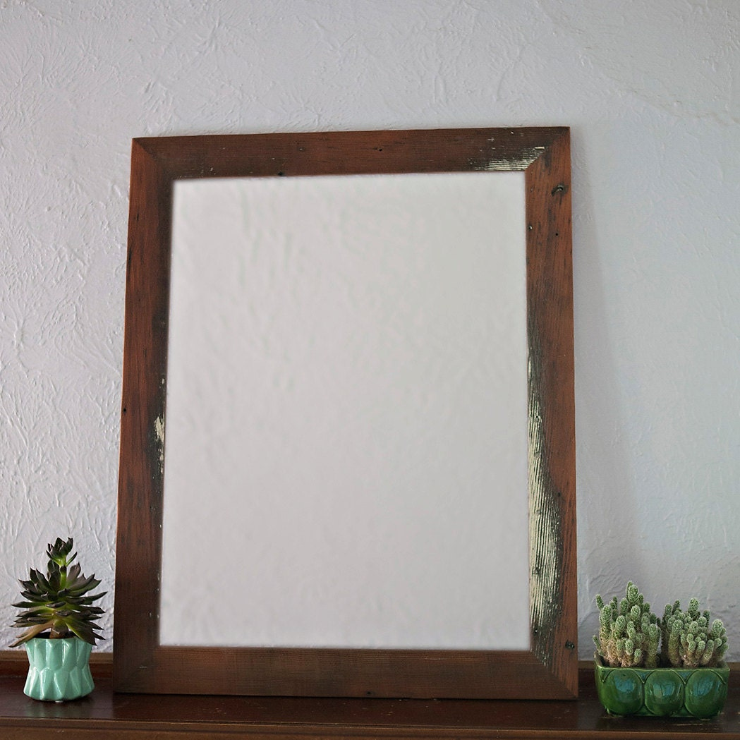 Reclaimed Wood Mirror 29x25 Vanity Mirror Bathroom Mirror