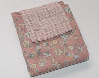 Tea wallet, tea bag wallet, tea lovers, party favors, tea carrier, floral, check