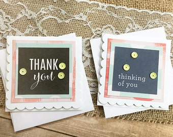 """Set of Two 3""""x3"""" Thank You and Thinking of You Mini-Cards, Gift Tags, Gratitude, Encouragement, Friend, Caring, Get Well"""