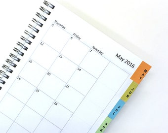 Add-on DIY month tabs and a page marker tab for Green Chair Press Planner or Notebook