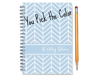 2016 Monthly Planner, Personalized 12 or 24 month Calendar Notebook, Start Any Time, Add Your Name, Chevron, Gift Idea, SKU: pn chev sc