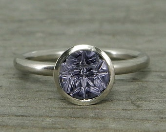Lavendar Spinel Ring with Recycled 950 Palladium, Designer Cut Gemstone by Larry Woods, with Peekaboo Bezel, Ready to ship in a size 6.5