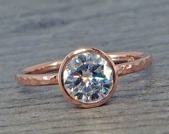 Moissanite Engagement Ring, Forever One GHI, with Recycled 14k Rose Gold - Solitaire, Hammered, Ethical, Eco-Friendly, Made To Order