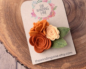 Orange/Rust Felt Flower Cluster Hair Clip/Barrette/Headband, Felt Hair Accessory for baby, toddler, child, teen, or adult