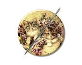 Kittens Victorian Cats needle minder magnet cross stitching sewing tool sewing notion wife gift under 10 stocking stuffer cat lovers