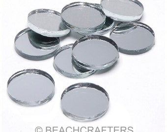 20 ct - 1/2 inch Round SILVER Mirror Glass Mosaic Tiles