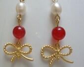 Freshwater Pearl Red  Jade Gold Ribbon charm earrings