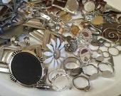Jewelry Art Crafts Mosaic Supply Blanks Pendants Rings Metal Findings Destash Lot of 100 pieces