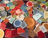 Mosaic Tiles Mixed Media Pieces Hand Cut Broken Plate Assortment Mix Words Maker Marks ads Letters Vintage Colors