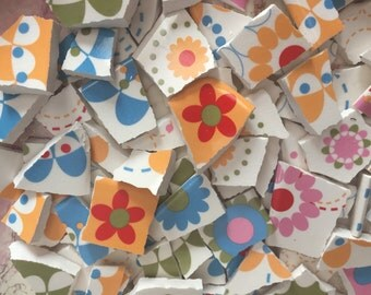 Mosaic Tiles Mix Broken Plate Art Hand Cut Pieces Supply Colorful Retro Pottery Flowers 100