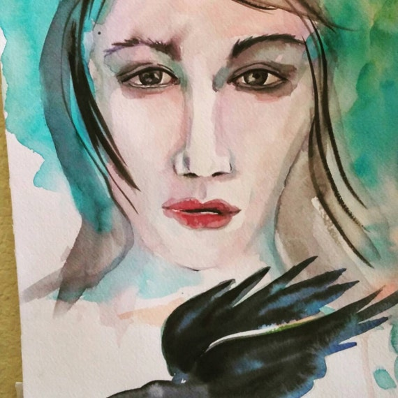 Face with Crow- watercolor