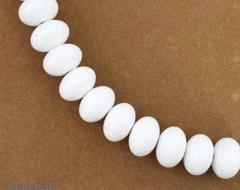 14mm Opaque White Fat Rondelle (15 Pcs) #4896
