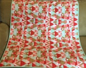 Coral Mint and metallic GOLD baby blanket with Minky backing