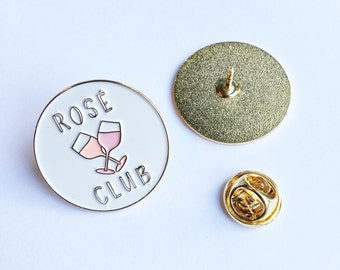 Rosé Wine Club Official Member Enamel Lapel Pin | Rose Pink Gold