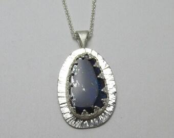 Boulder Opal Hammered Filigree bezel Sterling Silver Pendant 4.75 carats