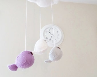 Nursery mobile - baby birds and cloud in lilac and grey