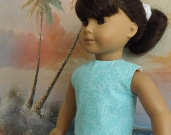 18 Inch Doll Clothes Seafoam Green with Subtle Florals Modified Crop Top NEW Style