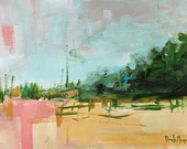 landscape painting, abstract landscape,small landscape, gallery wall, art, pink and green emerald green painting
