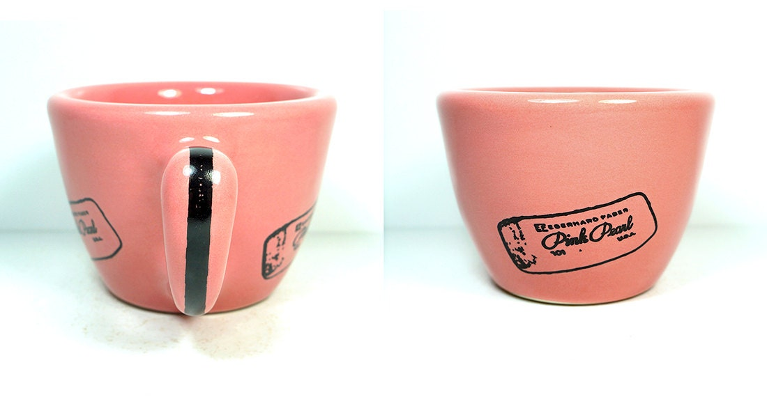 12oz cup/mug glazed in bubblegum with a pink pearl eraser print and pencil on it - Made to Order / Pick Your Colour