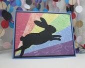 Rainbow Bridge Bunny Card - rabbit sympathy - bunny condolences - bunny passing - pet sympathy - animal sympathy