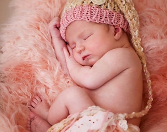 Newborn Baby Girl Knit Hat BaBY PHoTO PRoP Vintage Pink Tan Stocking Cap FaNCY Lace Tassel Button Beanie CoMiNG HoME Gift Toque CHooSE CoLOR