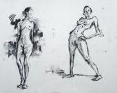 Original Figure Sketch - 18x24 Female Nude Charcoal Drawing by David Lloyd