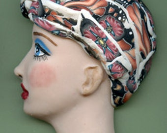 OOAK Polymer Clay One of a kind Detailed  Profile Face with Textured Hat BLPR 1