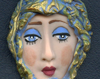 One of a kind *  Polymer Clay Detailed Art Doll face with Textured Hat TXFH 1