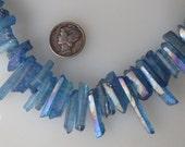 Blue Aurora Borealis Raw Quartz Graduated Crystal Point Top Drilled Beads Avg Size 14-27mm 15 pcs.