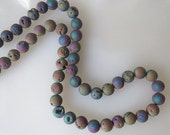 Metallic Titanium Blue Green Gold Purple Peacock Druzy Crystal Agate 8mm Round Beads Half Strand