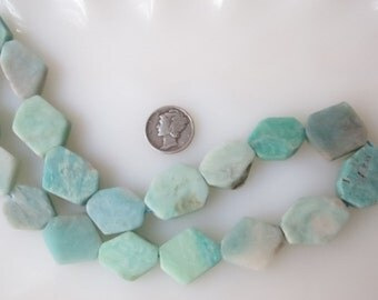 Amazonite Faceted Flat Nugget Beads Natural Blue Green Avg 17 x 20mm, Half Strand