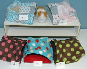 Guinea Pig Snuggle multi sizes, small animal pouch, 9x9, 12x12, or 14x14  pouch FREEstanding opening snuggle bag,  house guinea pig cavey