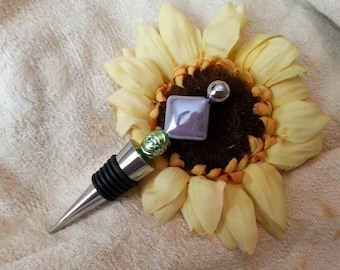 Lavender Beaded Wine Bottle Stopper