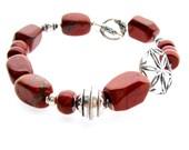 Red Jasper Nugget Bracelet Asymmetrical Bali Sterling Boho, Southwestern Jewelry, Cowgirl Jewelry